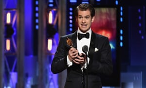 Andrew Garfield accepts a Tony for his role in Angels in America.