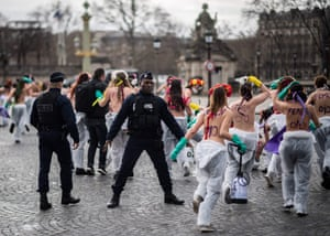 Femen activists demonstrate at place de la Concorde in Paris.