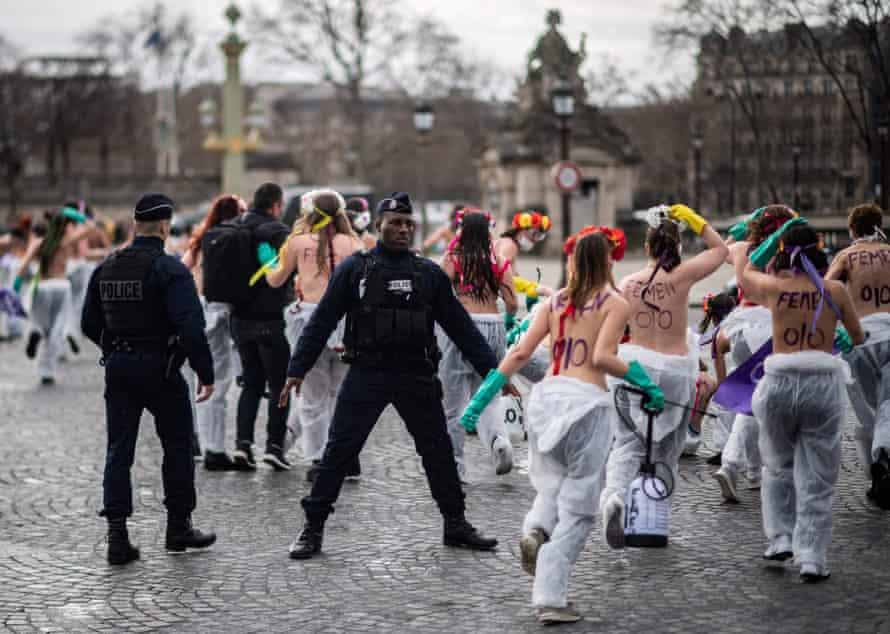 Femen activists demonstrate at place de la Concorde in Paris.