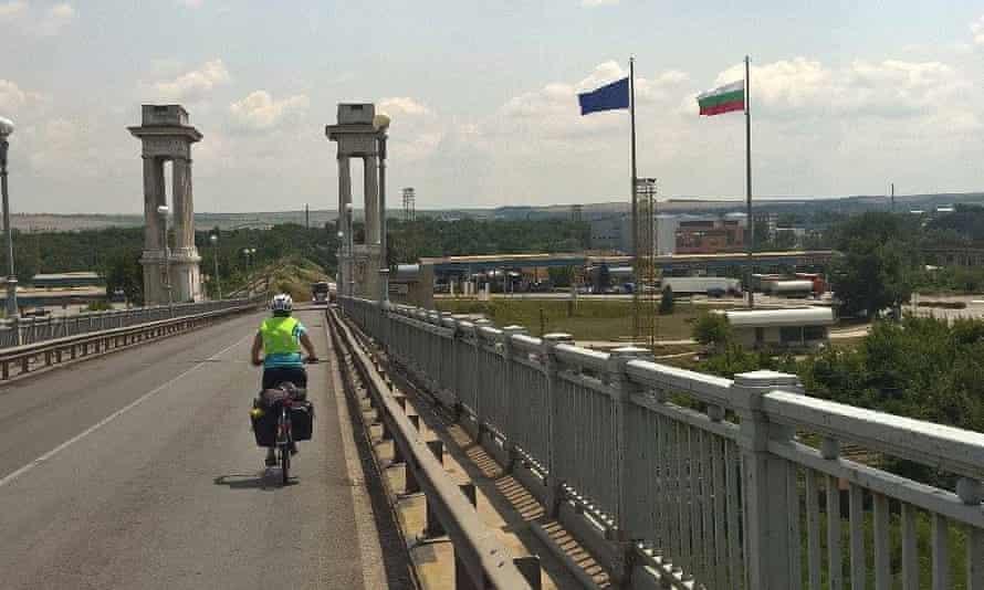 Helen cycling across the border into Bulgaria