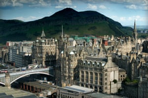 The Old Town of Edinburgh and Arthur's Seat.