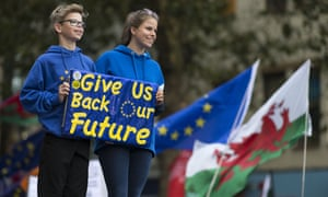 Children hold a pro-EU sign at a rally in Cardiff