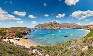 The bay at Fellos beach, Andros, Greece.