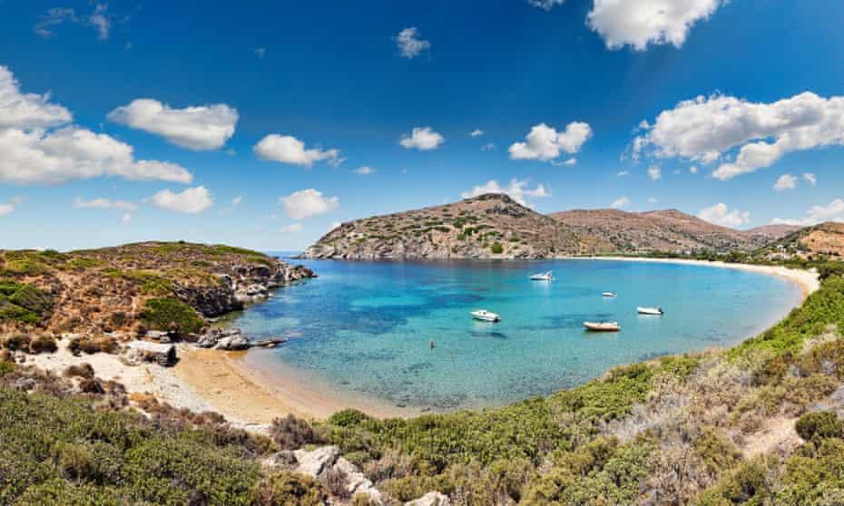 The bay at Fellos beach, Andros, Greece.