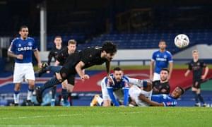 Ilkay Gundogan of Manchester City scores their side's first goal.