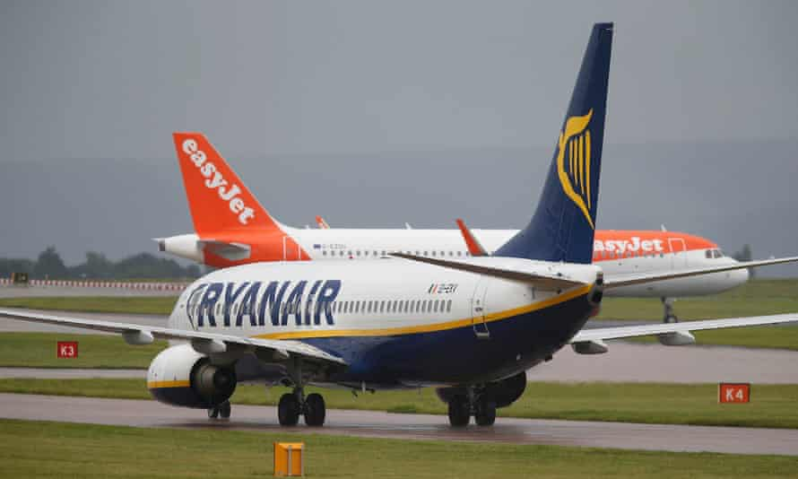 Ryanair and easyJet aircraft at Manchester airport.