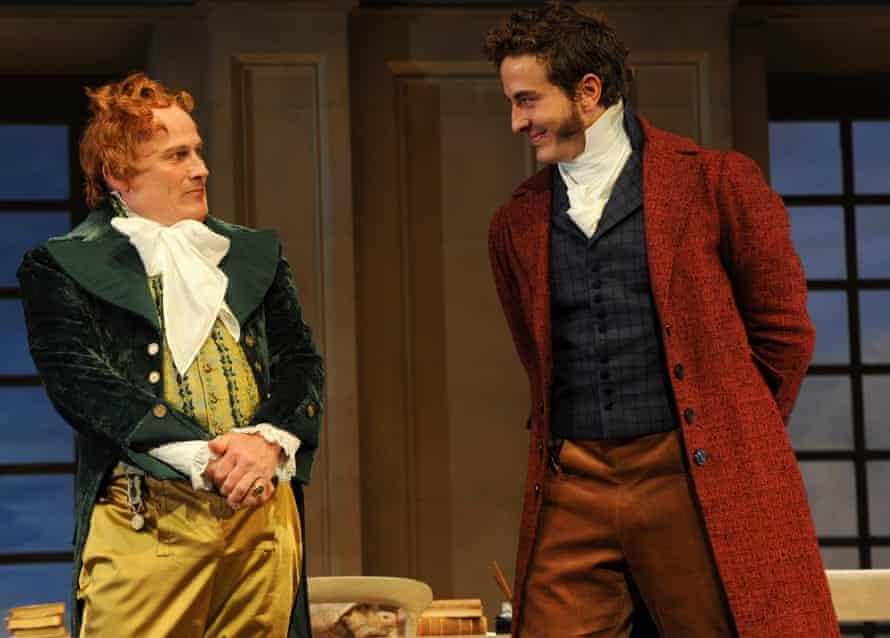 Glenn Hazeldine, as Ezra, and Ryan Corr, as Septimus, in the Sydney Theatre Company's 2016 production of Arcadia.