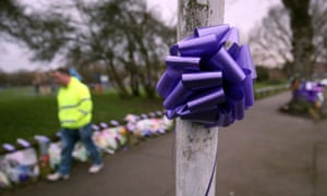 Ribbons and bows attached to lampposts and railings in Harold Hill, east London, following the death of Jodie Chesney