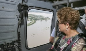 The Brazilian president, Dilma Rousseff, flies over flood-afflicted Uruguaiana in Brazil.