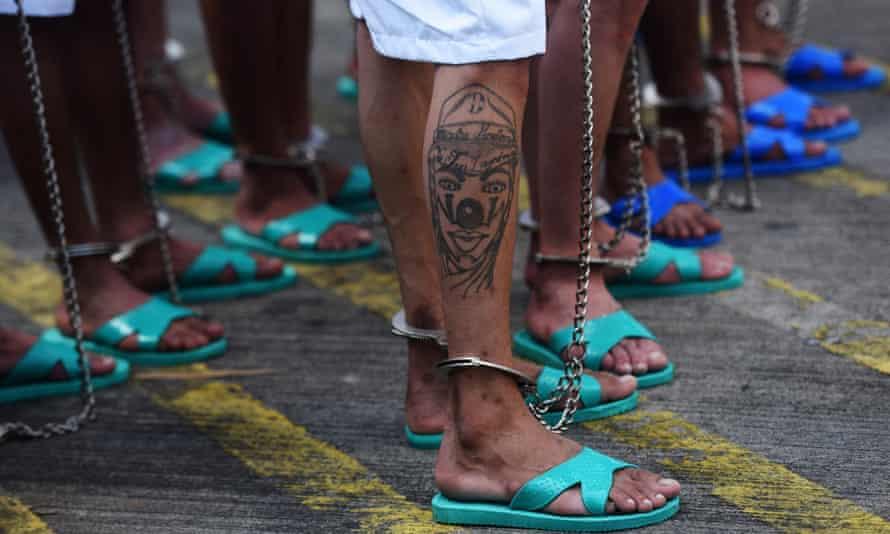 Gang members at maximum security prison in El Salvador.