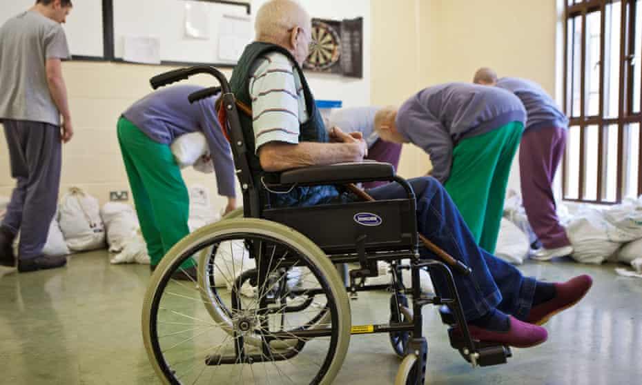 Older inmates in Littlehey prison, Cambridgeshire.