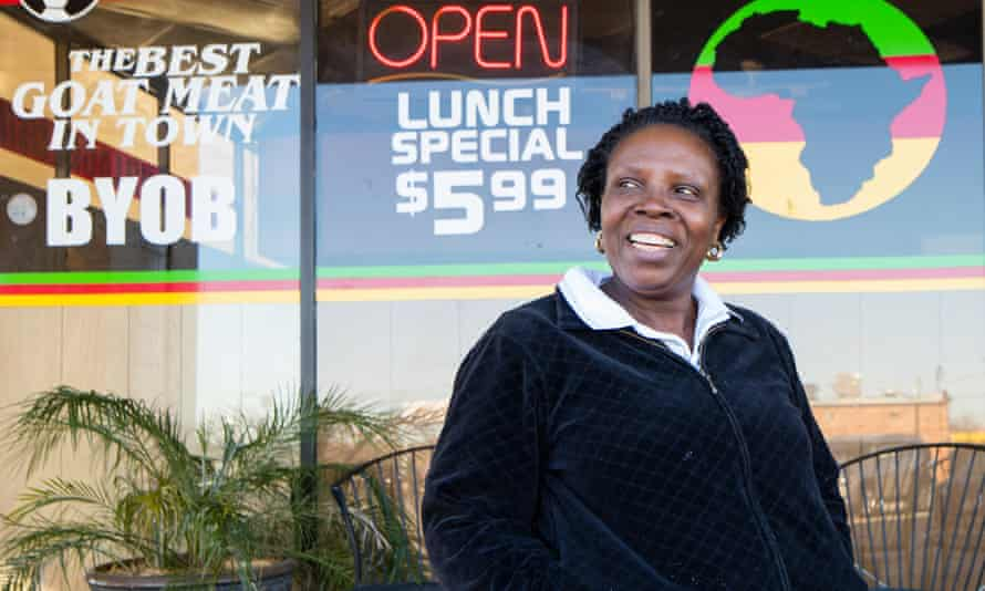 Grace Ndam, owner of the African Village Restaurant in Irving, Texas. This are zip-code is reputed to be the most diverse in the whole United States.