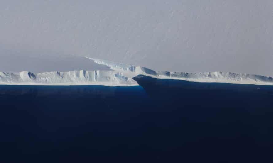 Fracture at the front of Ross ice shelf, the largest in Antarctica. A platform of ice nearly four times the size of the UK is at risk of collapse.