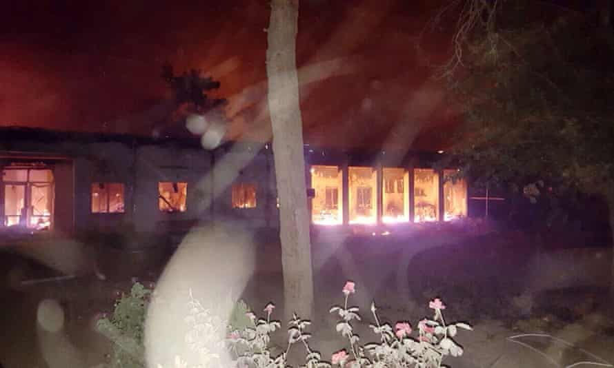 Fires burn in part of the Médecins Sans Frontières hospital in Kunduz after it was hit by an airstrike.