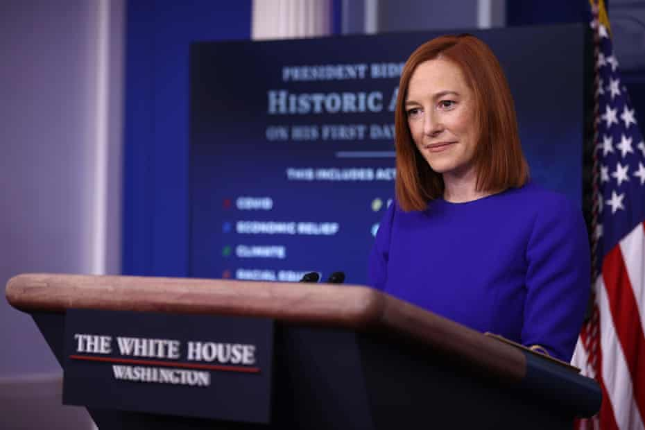 Jen Psaki conducts her first news conference of the Biden administration at the White House on 20 January.