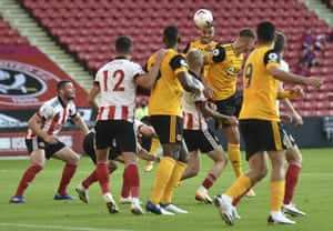 Romain Saiss scores the second with an excellent header.