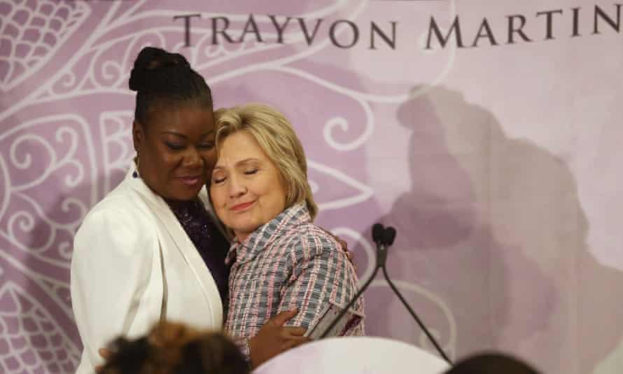 Hillary Clinton hugs Sybrina Fulton