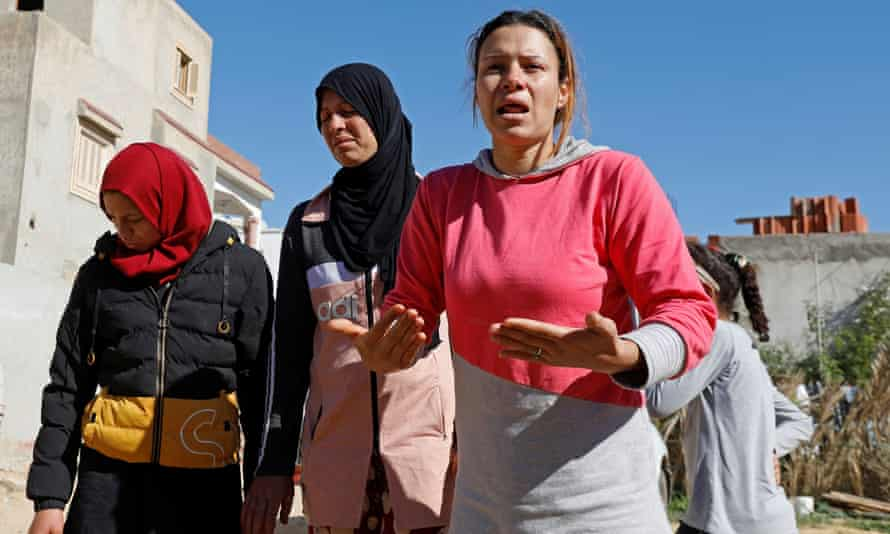 The family of Brahim Aouissaoui pictured in Thina, a suburb of Sfax in Tunisia