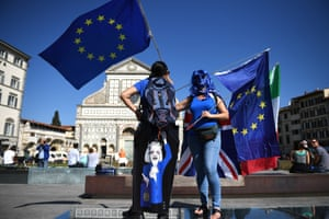 Demonstrators gather in front of the Santa Maria Novella basilica in Florence, Italy, before Theresa May's Brexit speech