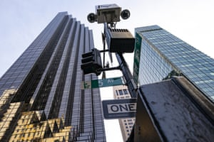 An NYPD security camera stands outside the front of Trump Tower on Fifth Avenue, Wednesday, 17 February, 2021, in New York.