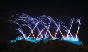 Fireworks light up the sky above Edinburgh Castle.