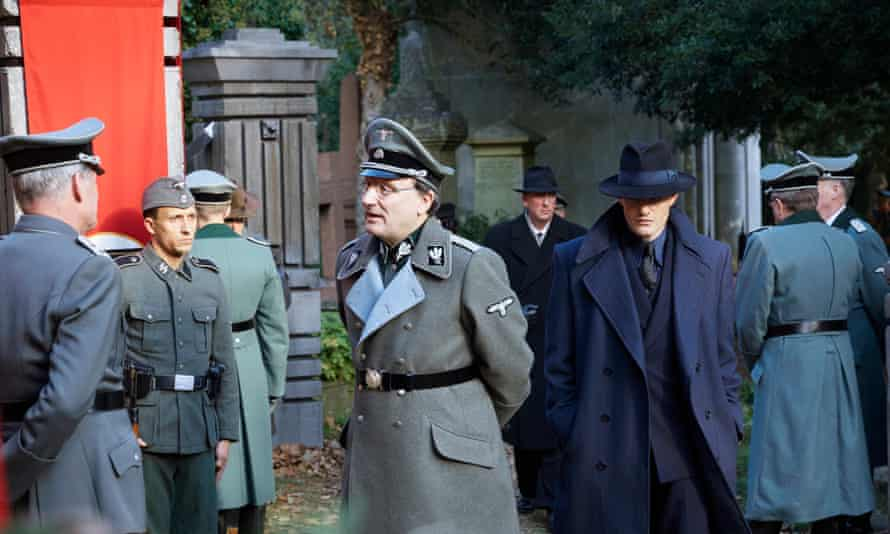Chill in the air … Rainer Bock, centre, and Sam Riley, right, in SS-GB.