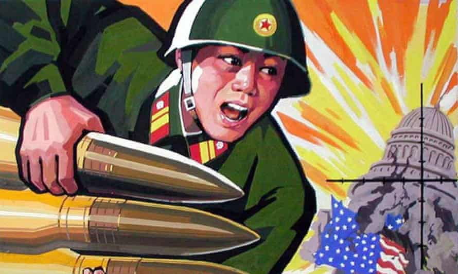 A poster depicting North Korea's military power that is displayed in the communist state. A senior US official has said Kim Jong-un's regime has the capability to launch a nuclear strike on US soil.