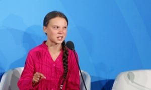 Thunberg addressing the UN Climate Summit in New York.