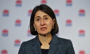 The NSW premier, Gladys Berejiklian, speaks to the media on Friday