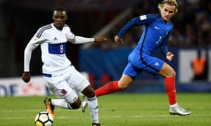 Luxembourg, with defender Christopher Martins (left), held France to a very creditable draw in Toulouse in their 2018 World Cup qualifiers.