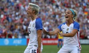Megan Rapinoe, left, enjoys scoring for USA against Brazil.
