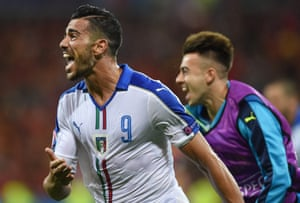 Pellè celebrates as Italy start their campaign with a win.