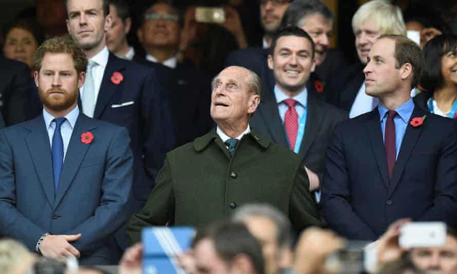 Harry, Philip and William attend the Rugby World Cup final match in London in 2015