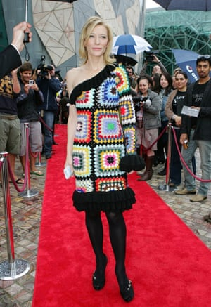 Cate Blanchett has long been a champion of the Australian fashion label, first appearing on the red carpet in one of their designs, this brightly coloured crocheted patchwork dress, in 2009 at the opening of the Screen Worlds exhibition in Melbourne. Designers Anna Plunkett and Luke Sales collaborated with Sydney Theatre Company when Blanchett was artistic director, on the typically eclectic costumes for the play Edward Gant's Amazing Feats of Loneliness.