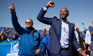 Mmusi Maimane (right), at a rally with thousands of people in Soweto, South Africa, July 2016.