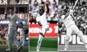 Graeme Hick celebrates a century for England; Malcolm Marshall bowls at Headingley; and Ian Botham bats at Old Trafford in 1981. Photographs by PA, Rex/Shutterstock and Getty.