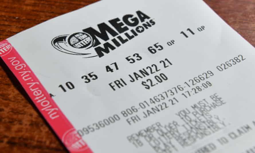 A Mega Millions New York Lottery ticket.
