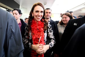 The Labour party leader, Jacinda Ardern, meets supporters at Manurewa mall ahead of the election in Auckland, New Zealand