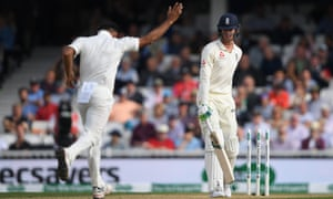 Keaton Jennings left a ball by Mohammed Shami and was clean bowled.