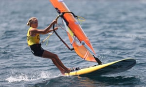Emma Wilson of Great Britain does windsurfing