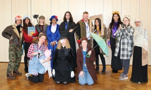 Teachers and staff at Featherstone High School, Southall, London, including Fern from Charlotte's Web, Mary Poppins, the Phantom of the Opera and Lady Macbeth.
