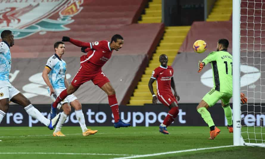 Liverool defender Joël Matip meets Mohamed Salah's cross to score the third goal.