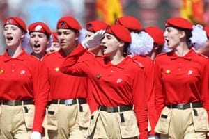Young cadets march in Red Square