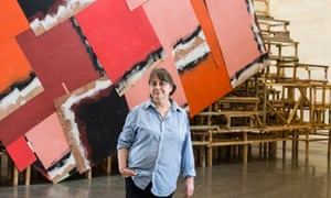 Phyllida Barlow stands in front of her installation Dock at Tate Britain, London, in 2014.