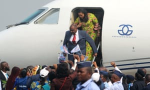 Congolese opposition leader Jean-Pierre Bemba arrives at the N'djili International Airport in Kinshasa on Wednesday.