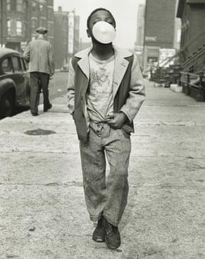 Boy blowing bubble gum, Chicago, 1951