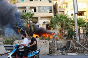 Khalde, Lebanon. At least five people including, three Hezbollah members, were killed south of Beirut when a funeral procession for a party member was ambushedas rivalry continues in the area between members of the Shia group and Sunni residents