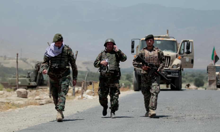 Afghan soldiers on patrol