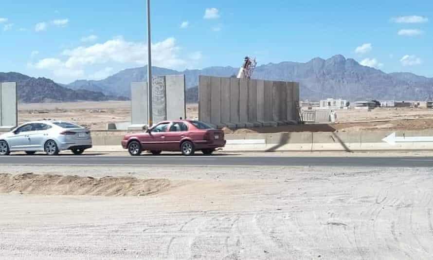 Large concrete barriers.