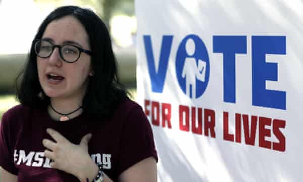 Sofie Whitney, an activist and student at Marjory Stoneman Douglas, during a Vote for Our Lives event.